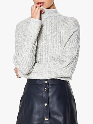 Selected Femme Kuma Cable High Neck Jumper, Snow White