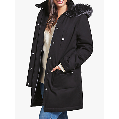 Four Seasons Faux Fur Trimmed Caban Coat