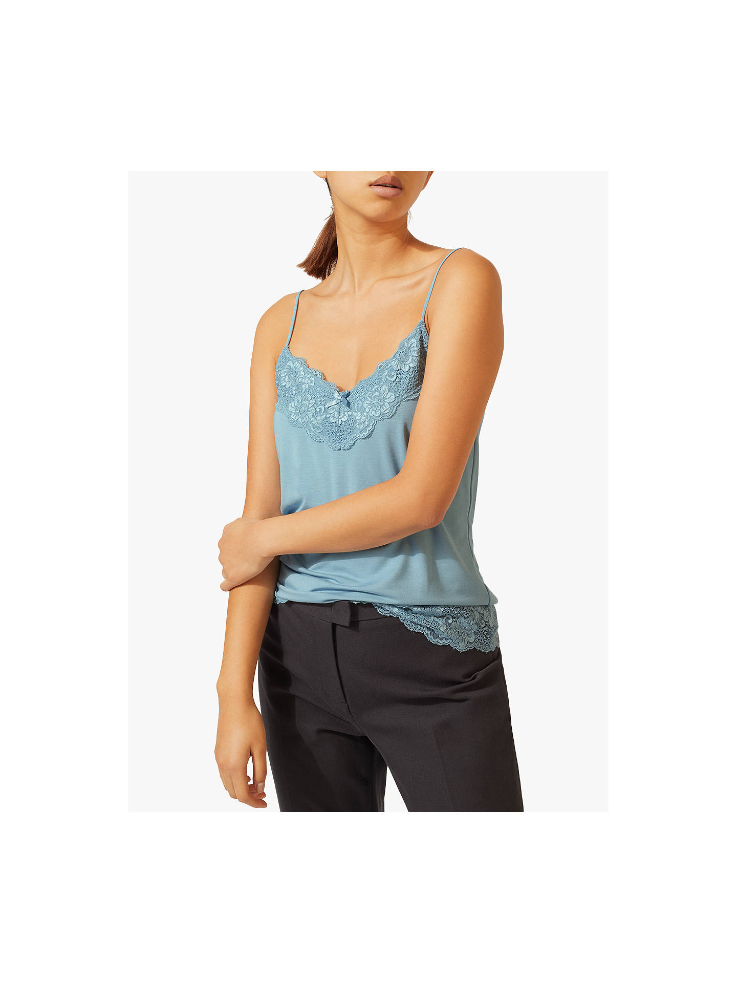 BuyJigsaw Modal Lace Trim Vest, Powder Blue, XS Online at johnlewis.com