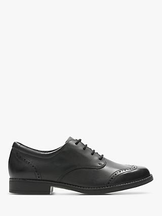 Clarks Junior Sami Walk Brogue, Black Leather