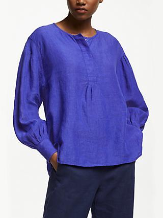 ed850bc9f24 John Lewis   Partners Linen Gathered Sleeve Blouse