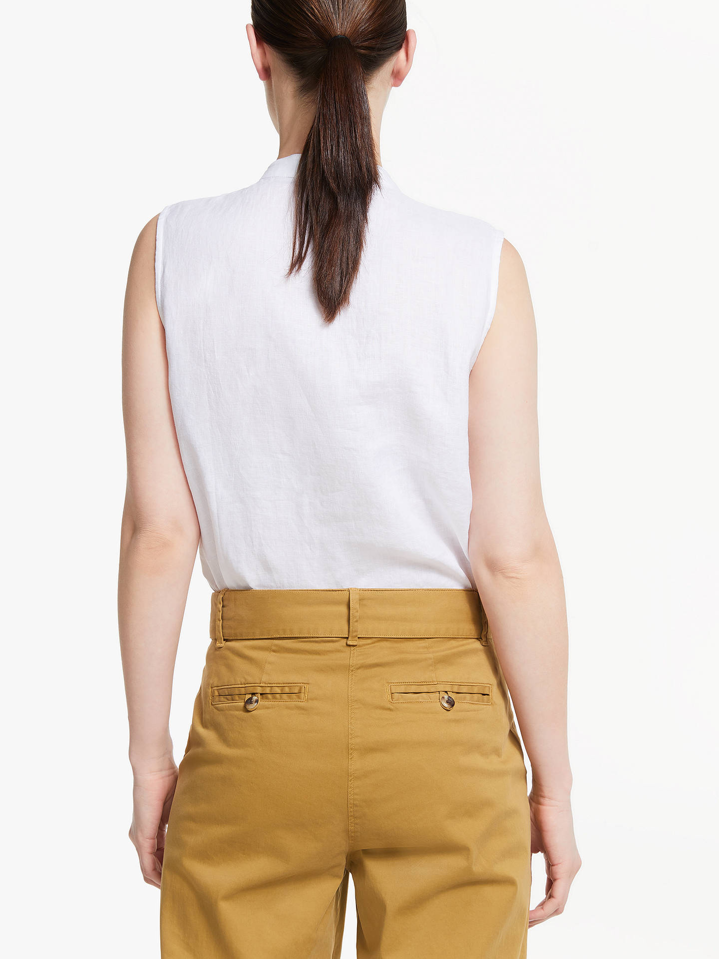 Buy John Lewis & Partners Linen Frill Detail Blouse, White, 8 Online at johnlewis.com