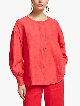 300760111be3d John Lewis   Partners Linen Gathered Sleeve Blouse