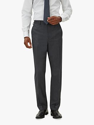 Jaeger Wool Flannel Regular Fit Suit Trousers, Charcoal
