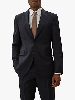 Jaeger Wool Windowpane Check Regular Fit Suit Jacket, Navy