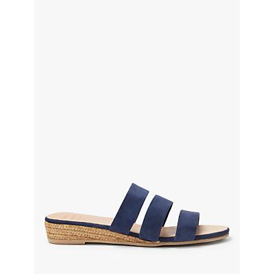 John Lewis & Partners Kaylin Wedge Heel Slide Sandals, Blue Suede