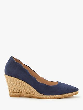 503f70cc6 John Lewis & Partners Keeva Wedge Heel Court Shoes, Navy Suede