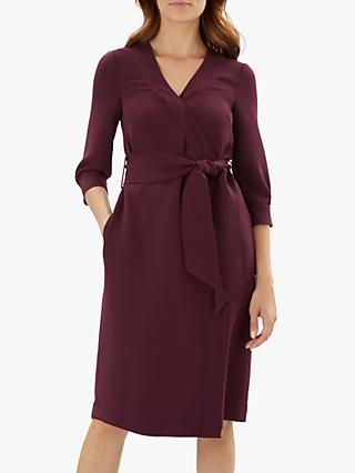 Jaeger Tie Waist Detail Crepe Wrap Dress, Purple