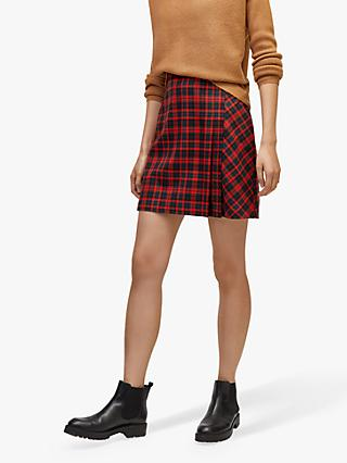 Warehouse Mini Kilt Skirt, Red Tartan