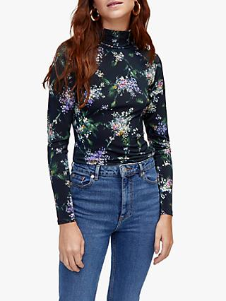 Warehouse Brushed Bloom Polo Neck Top, Black Multi