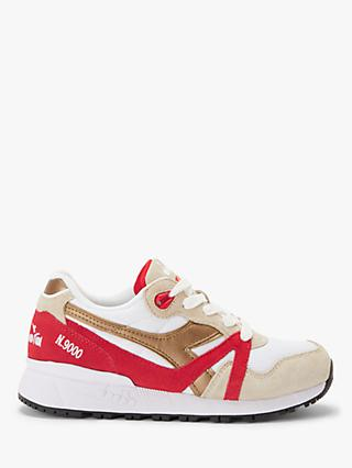 Diadora N9000 Lace Up Trainers, White/Fog/Gold