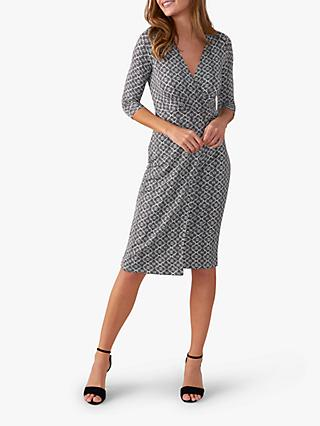 Pure Collection Jersey Mosaic Wrap Dress, Black