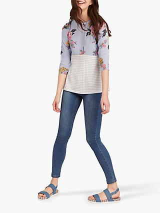 Joules Sonya Floral Stripe Jersey Woven Top, Light Blue Chinoise