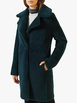 Jigsaw Italian Shearling Leather Coat, Eucalyptus