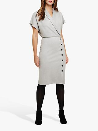 Phase Eight Bianca Button Skirt Dress, Grey