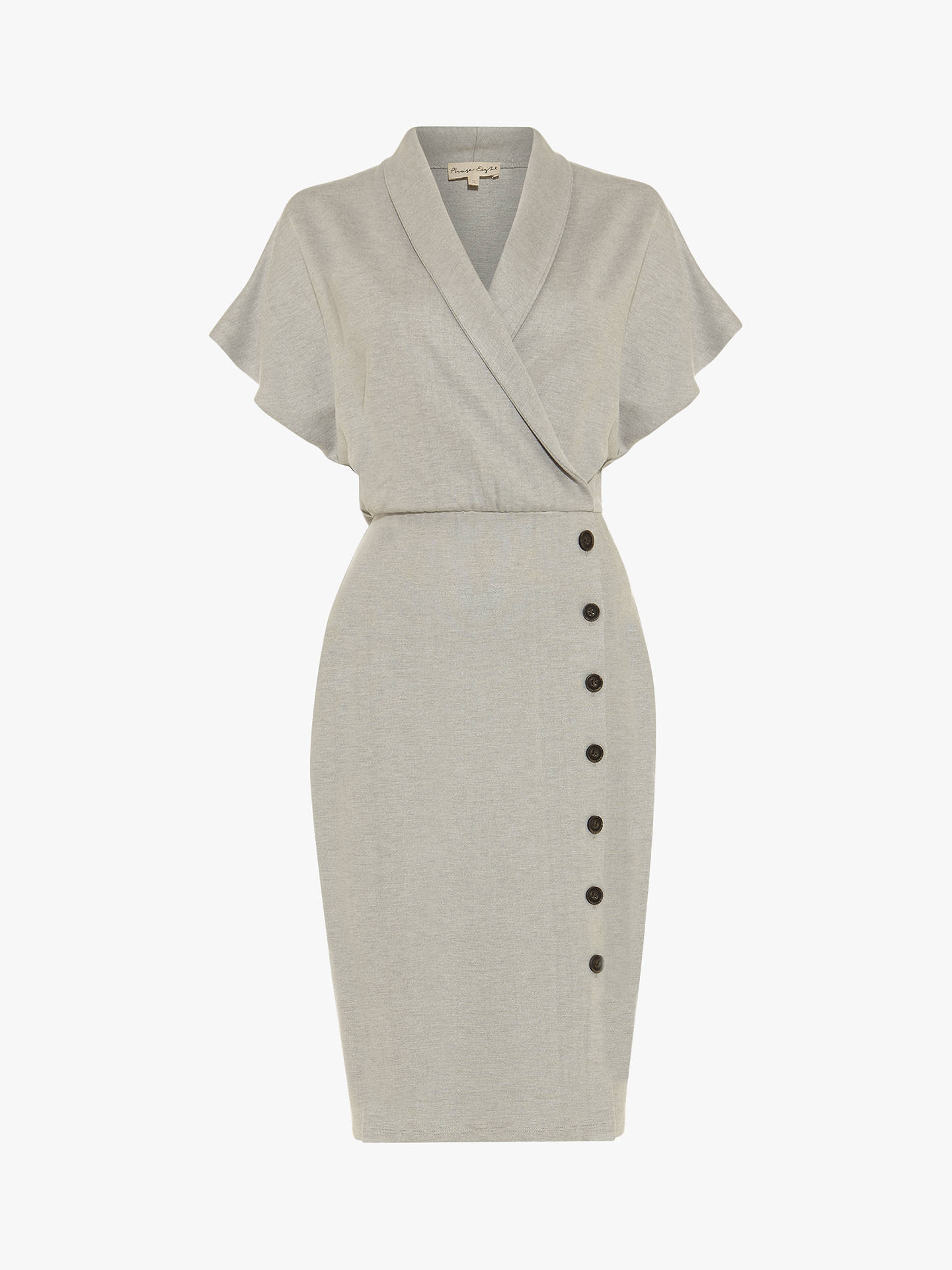 Buy Phase Eight Bianca Button Skirt Dress, Grey, 18 Online at johnlewis.com