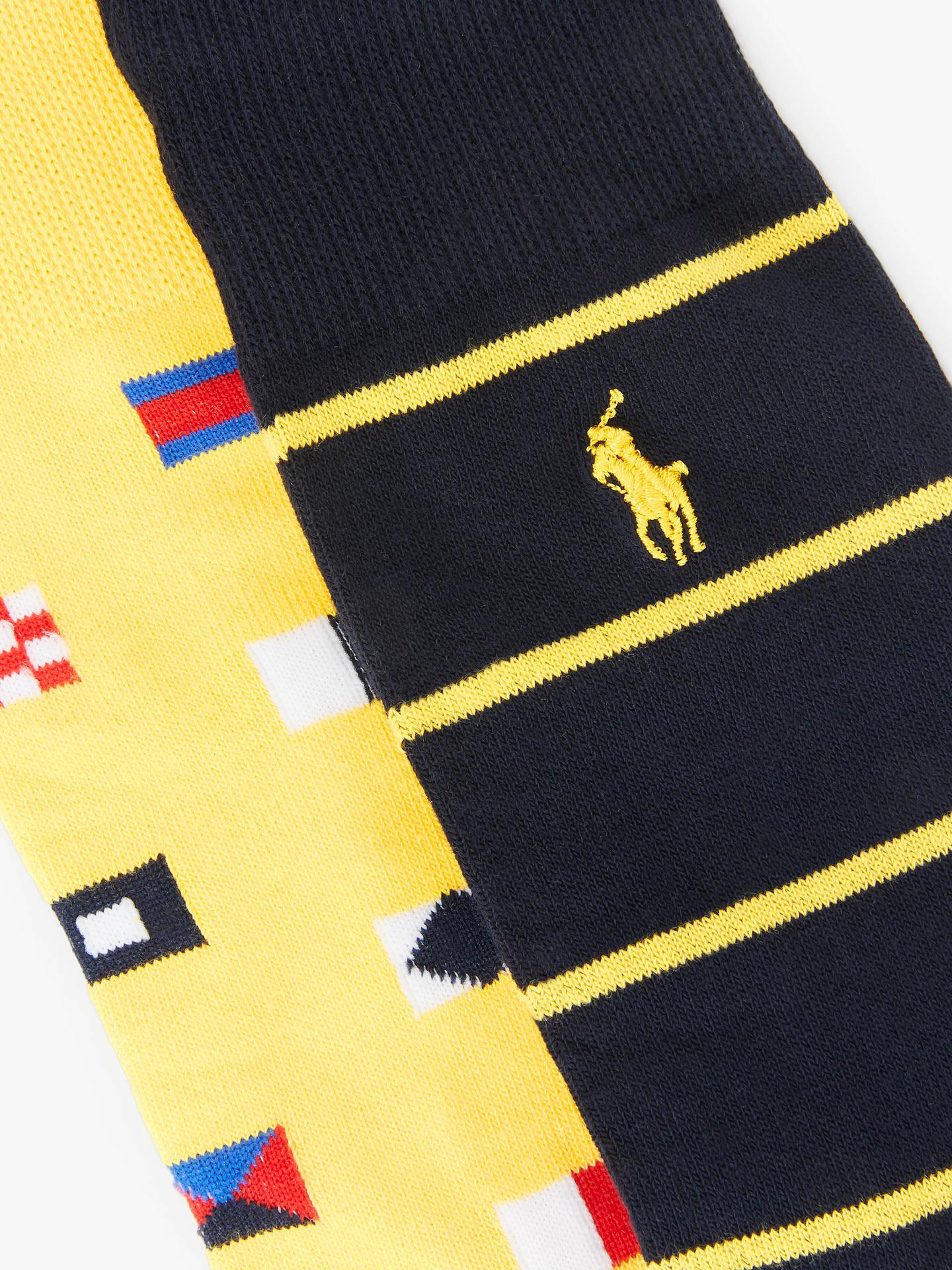 9d634b9ba1 Polo Ralph Lauren Flag Stripe Mercerised Cotton Blend Socks, Pack of ...