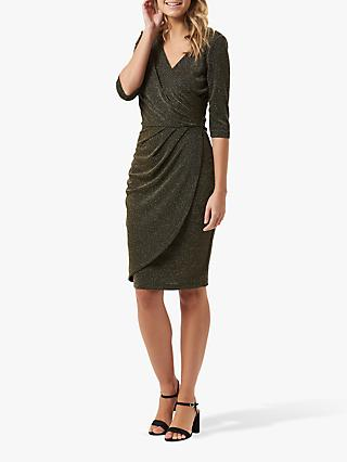 Sugarhill Brighton Millie Sparkle Wrap Dress, Black/Gold