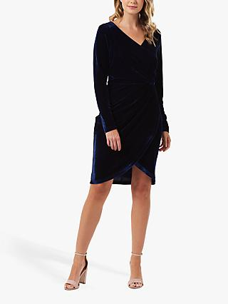 Sugarhill Brighton Kelli Velvet Wrap Dress, Navy