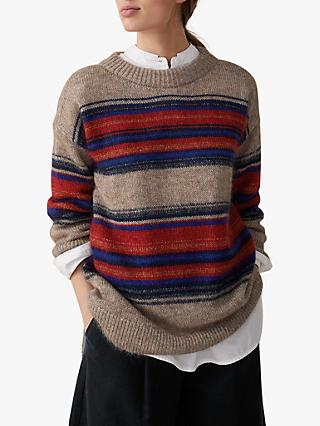 Toast Mohair Stripe Jumper, Red/Multi