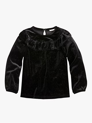 crewcuts by J.Crew Girls' Coral Velvet Ruffle Top, Black Sparkle