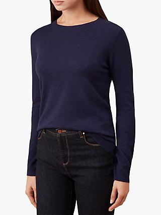 Hobbs Emi Knitted Sweater, Navy Cobalt