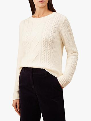 Hobbs Tess Cable Knit Sweater, Ivory