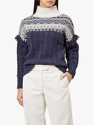 Hobbs Cleo Fair Isle Jumper, Navy/Multi