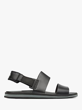 Camper Spray Strappy Leather Sandals, Black