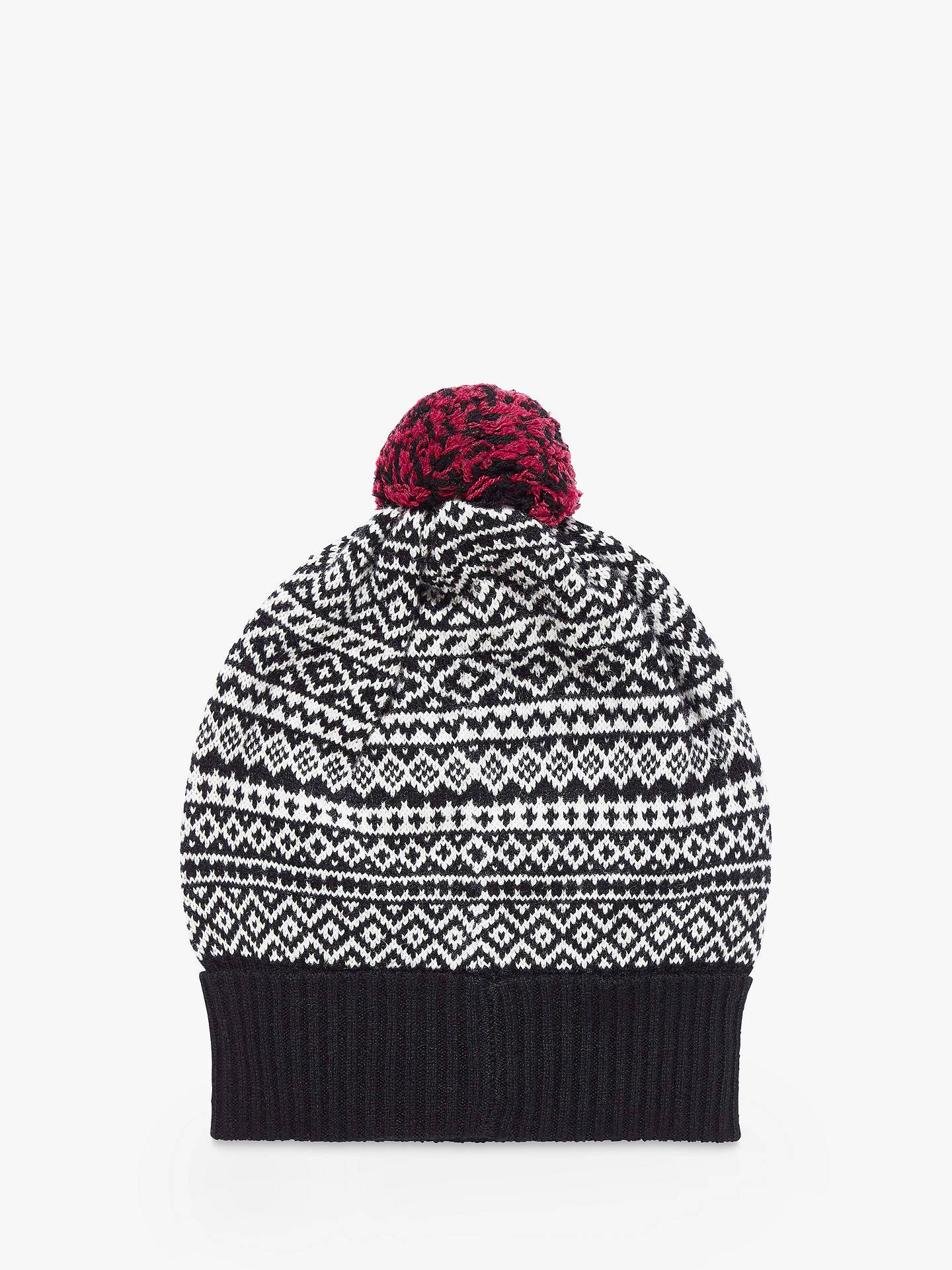 fb1bb79623354a Buy Brora Cashmere Folk Pom-Pom Beanie Hat, Black/White Online at johnlewis  ...