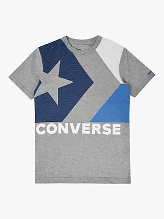 Converse Boys' Box Print T-Shirt, Grey