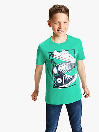 Converse Boys' Rectangle Stack T-Shirt, Green