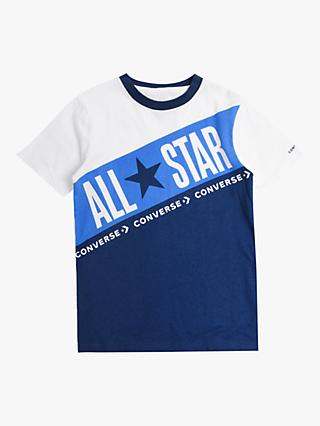 Converse Boys' Block Print T-Shirt, White/Blue