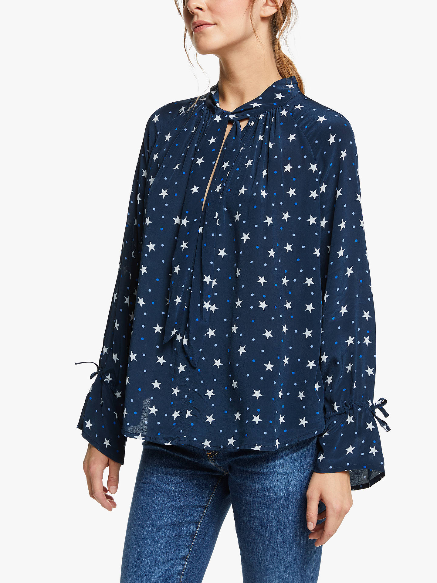 091f5df3ebef84 Buy Pyrus Anais Star Spot Print Blouse, Navy, M Online at johnlewis.com ...