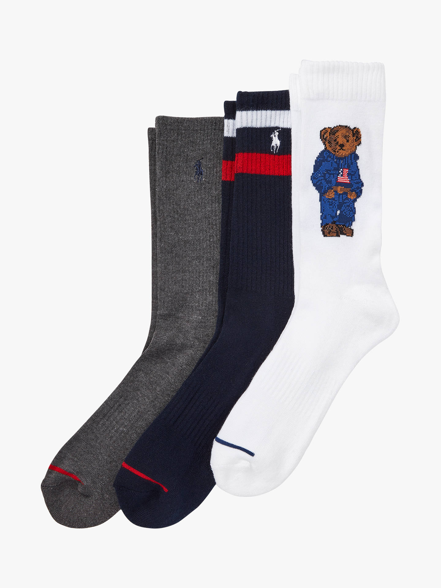 207f347ad1 Polo Ralph Lauren Bear Print Sports Crew Socks, Pack of 3, One Size,  Navy/Grey/White