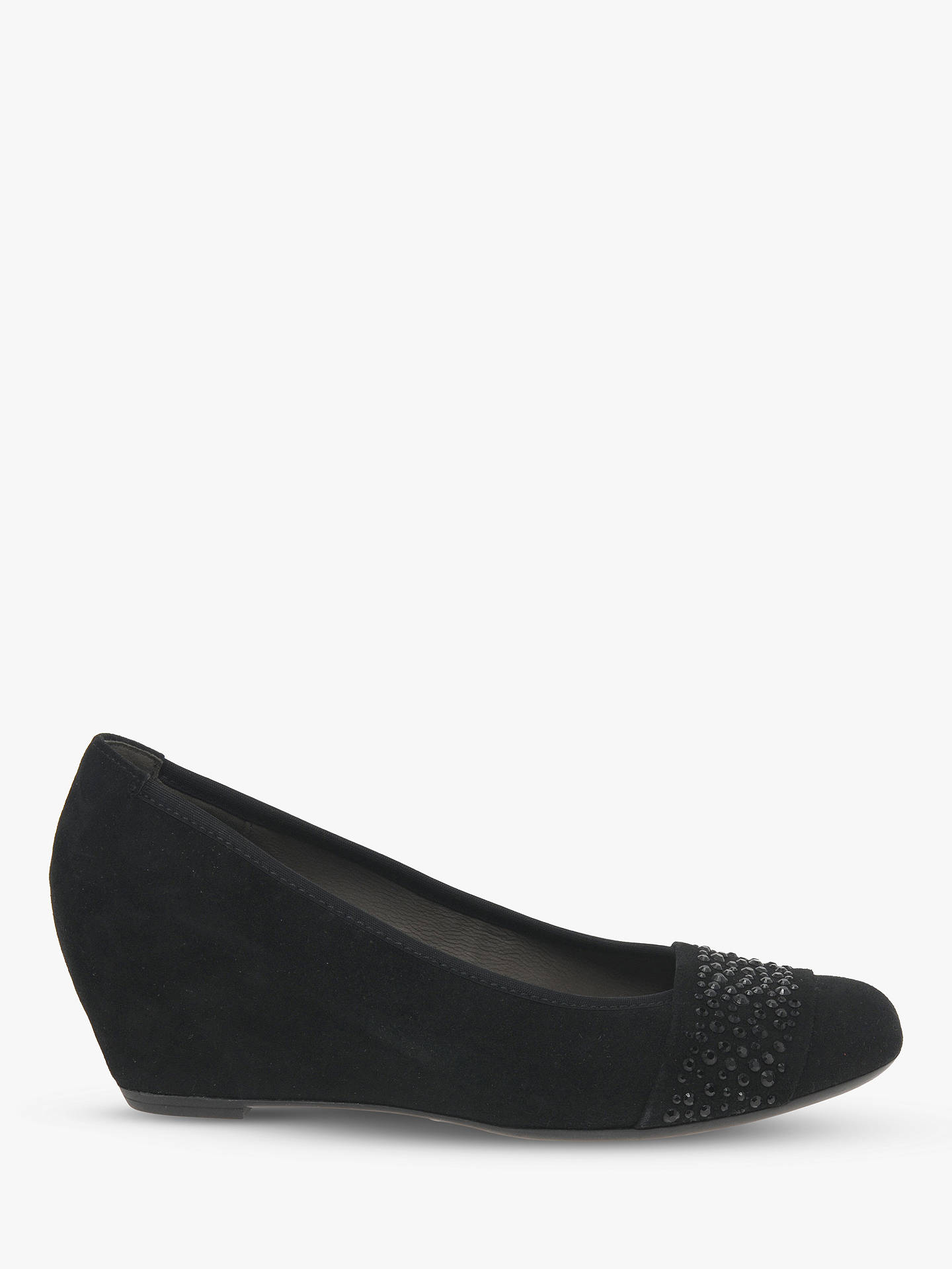 0eecee0bf03a6 Buy Gabor Fodder Concealed Wedge Heel Court Shoes, Black Suede, 6 Online at  johnlewis ...
