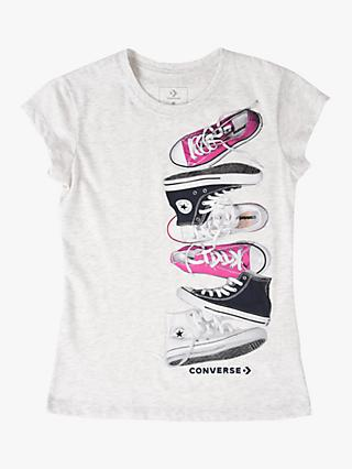 Converse Girls' Shoe Print T-Shirt, Grey