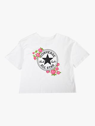 Converse Girls' Rose Print Cropped T-Shirt, White
