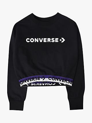 375192876 Converse Girls' Crew Neck Jumper, Black