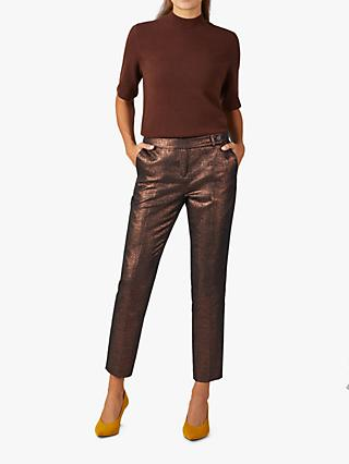 Pure Collection Metallic Ankle Grazer Tailored Trousers, Bronze