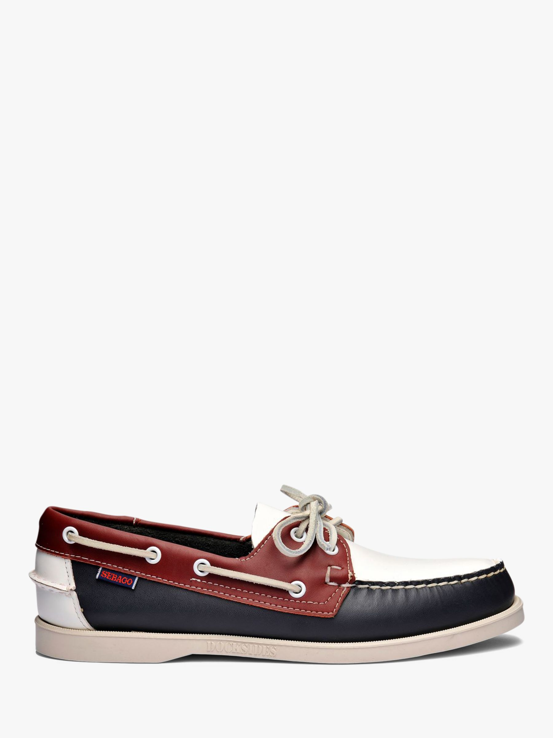 Sebago Sebago Portland Spinnaker Leather Boat Shoes, Navy/Red/White