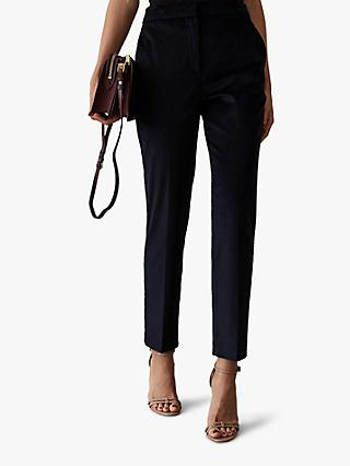 Reiss Carey Cord Tapered Trousers, Navy