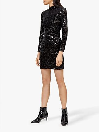 Warehouse Velvet Sequin High Neck Dress