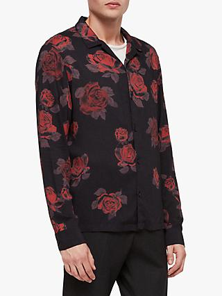 AllSaints Thorn Roses Long Sleeve Shirt, Jet Black/Red