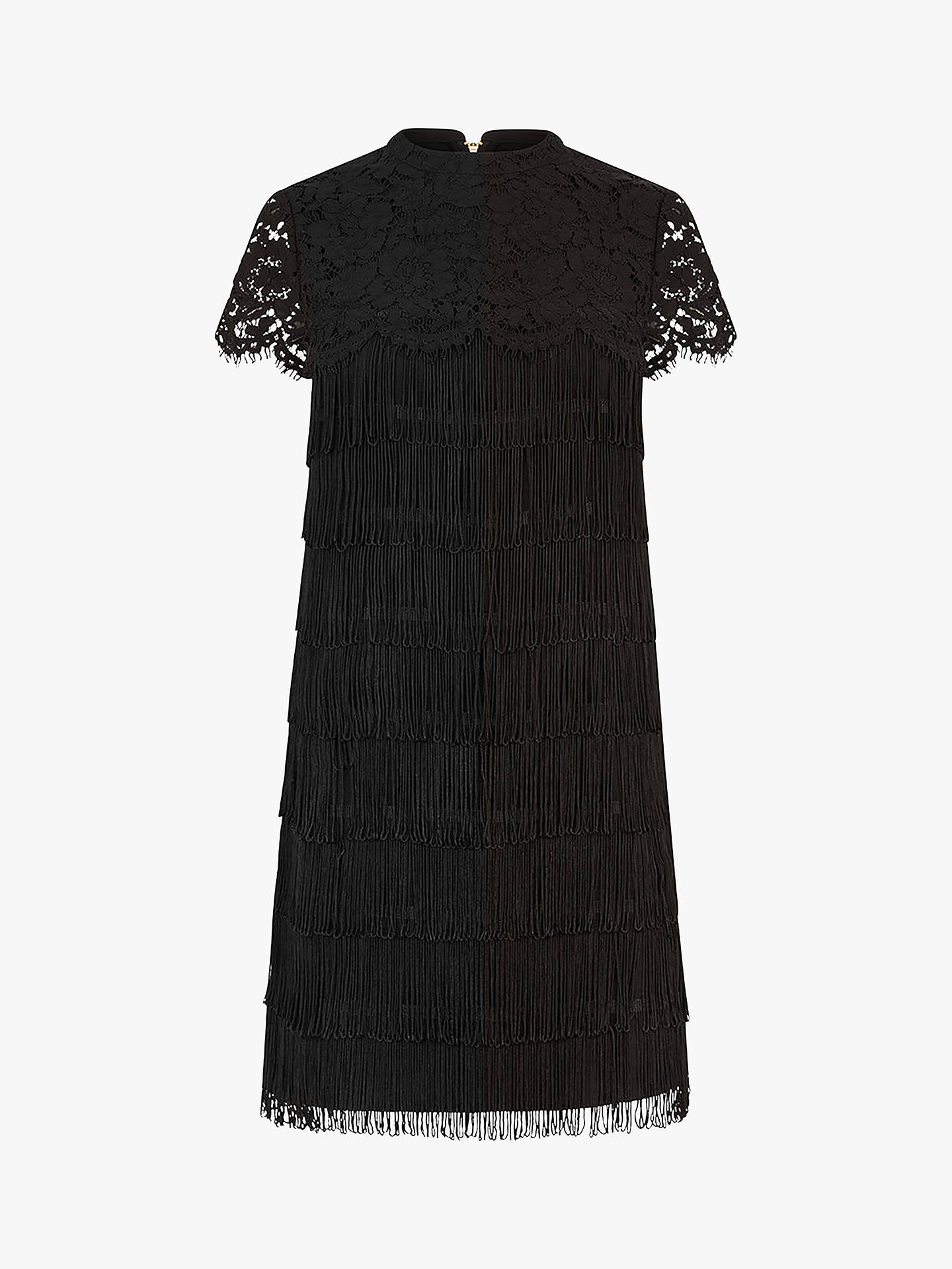 7cf013fbdafc ... Buy Oasis Lace Fringe Dress, Black, 6L Online at johnlewis.com ...