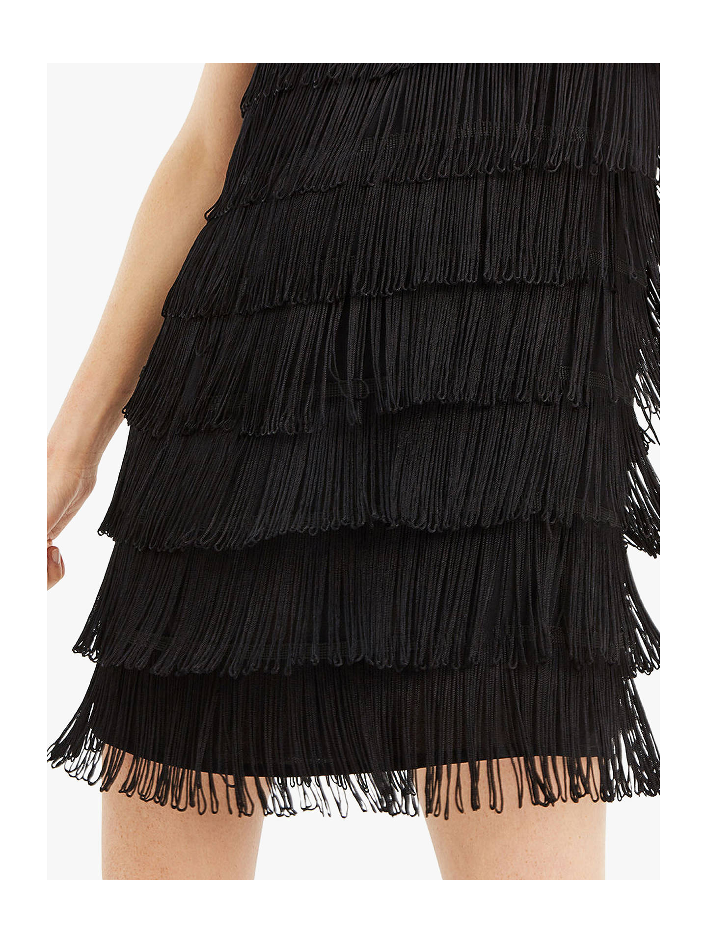 4dddf490b7f4 ... Buy Oasis Lace Fringe Dress, Black, 6L Online at johnlewis.com