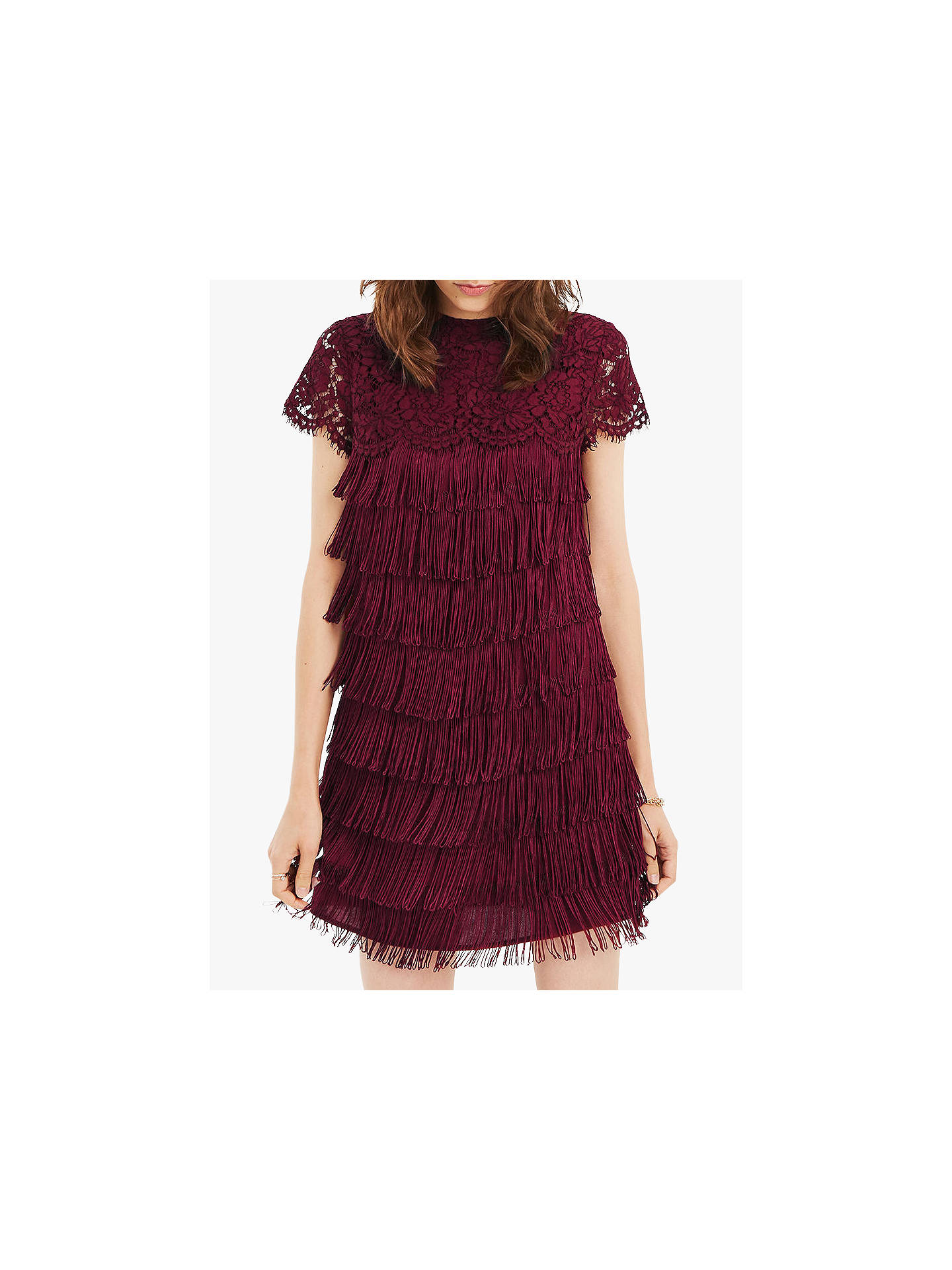 dd2c6e836750 Buy Oasis Lace Fringe Dress, Burgundy, 8 Online at johnlewis.com ...