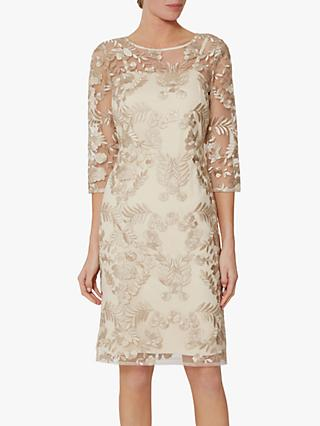 Gina Bacconi Rehka Floral Lace Dress, Gold