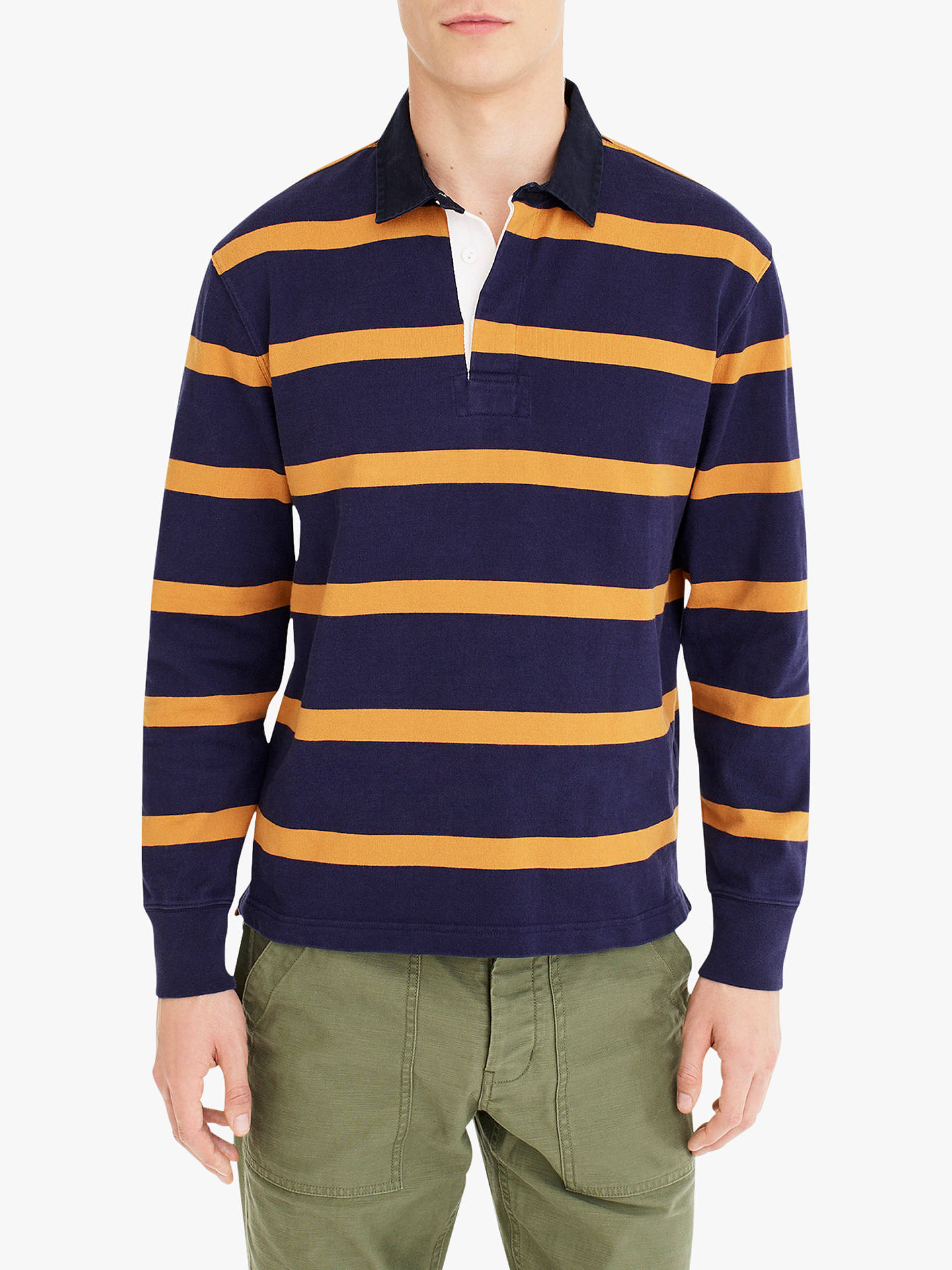 c4e73fa4 Buy J.Crew Jackson Stripe Long Sleeve Rugby Shirt, Caspian Night, M Online  ...