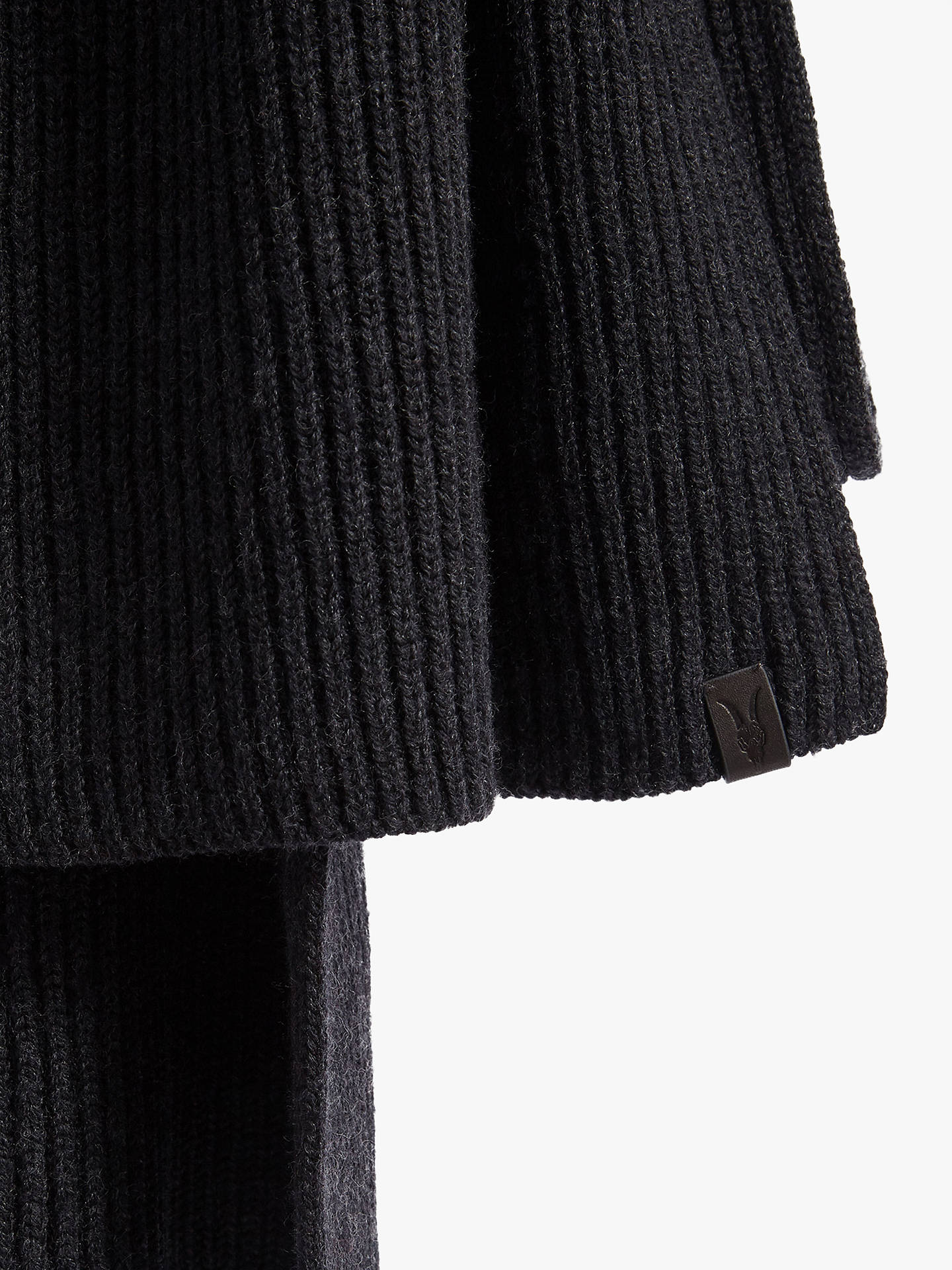 BuyAllSaints Merino Wool Ribbed Scarf, Cinder Black Marl Online at johnlewis.com